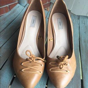 Women's Zara Tan Leather Heels Size 8/38 NWOT